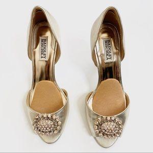 Badgley Mischka Gold Peep Toe Heels